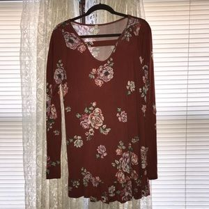 Rusty Orange Floral Top - LG - Boutique Purchase
